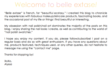 bellextase welcome text