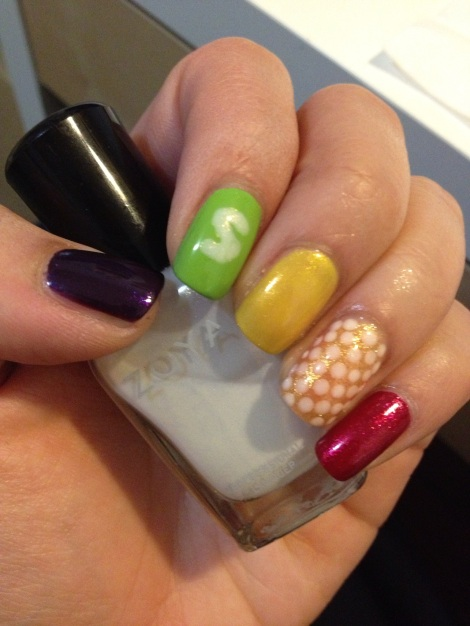 Add some accent with a white nail polish.