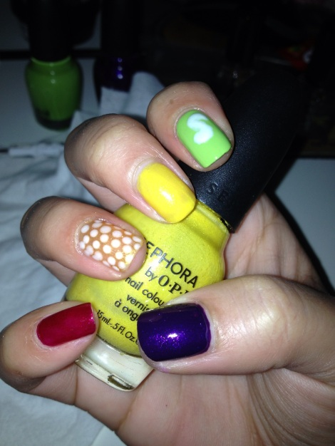 Skittles nails 4
